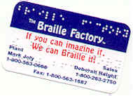 Brailled Braille Factory (TM) business card